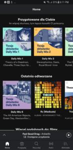 Tak wygląda widok aplikacji mobilnej Spotify